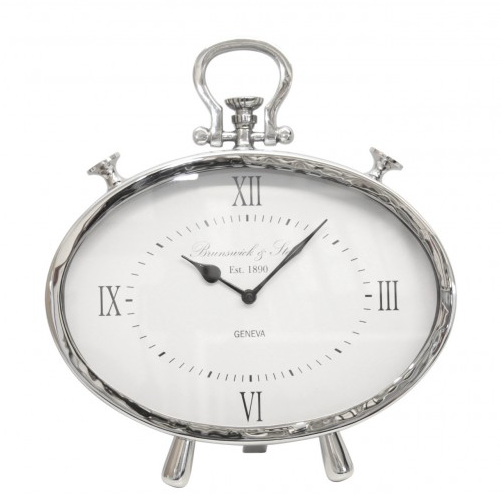 Oval Table Clock in Nickel