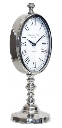 Nickel Table Clock on Stand