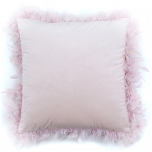 Velvet Cushion with Feather Edging in 2 Colours