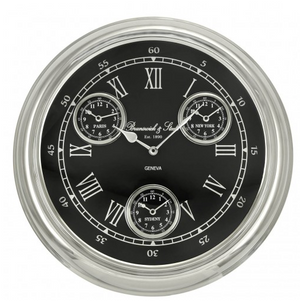 4 Time Zone Black And Nickel Wall Clock