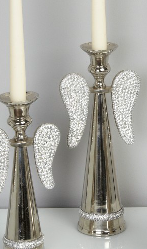 Silver Angel Wing Candle Holder