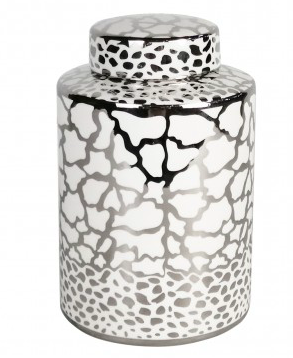 Round White & Silver Patterned Ginger Jar