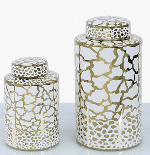 Round White & Gold Patterned Ginger Jar
