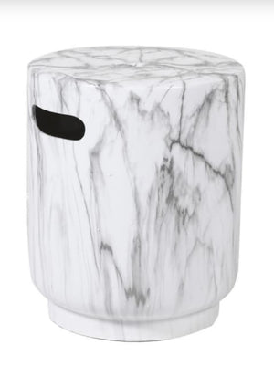 White Marble Effect Stool