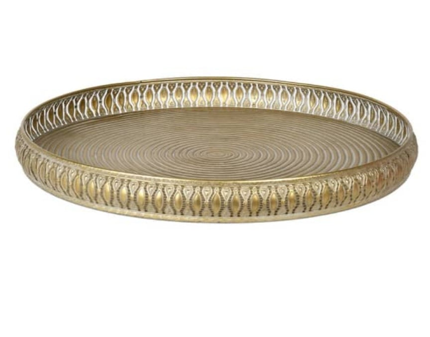 Round Gold Filigree Tray