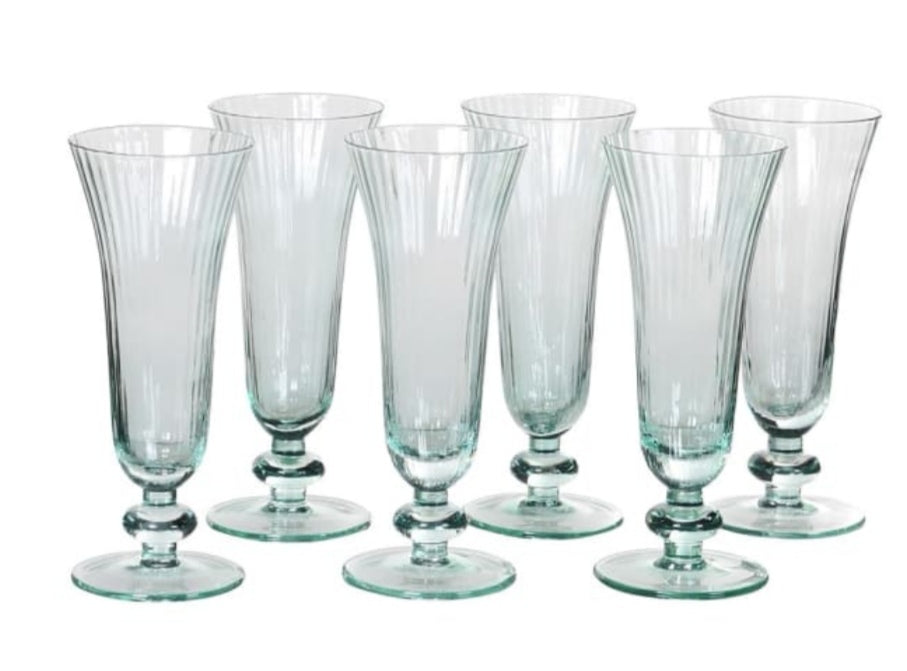 Mint Ribbed Glass Flutes
