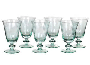 Mint Ribbed Wine Glasses