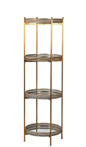 Gold 4 Tier Mirrored Shelves