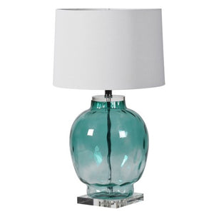 White Shaded Lamp With Green Glass Frame