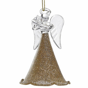 Glass Angel in Gold Glitter