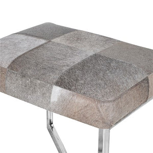 Silver Legged Stool With Leather Hide Top