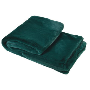 Bottle Green Faux Fur Throw