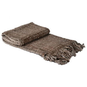 Cocoa Natural Cotton Throw with Tassels