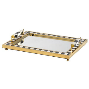 Monochrome Tray With Gold Edging