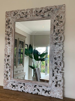 White Wash Carved Mirror