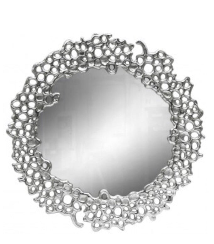 Round Silver Mirror with Cut Out Detail
