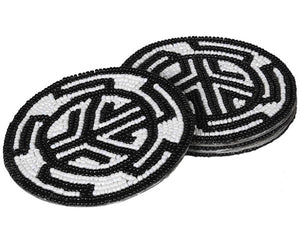 Set of 4 Beaded Aztec Coasters