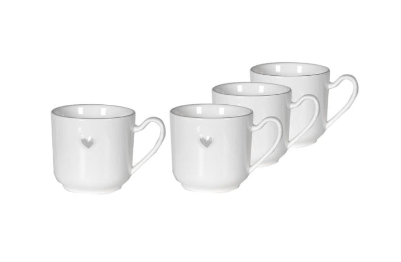 Grey Love Heart Cups
