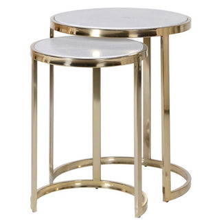 Set of 2 White Marble Gold Nesting Tables