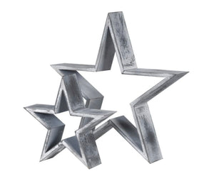 Small & Large Grey Wooden Stars