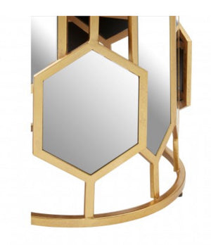 Gold Mirrored Hexagonal Table