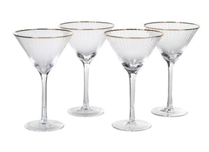 Ribbed Martini Glasses with Gold Rim