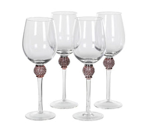 Rose Gold Diamanté White Wine Glasses
