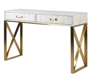 Ivory & Gold Faux Shagreen Console Table