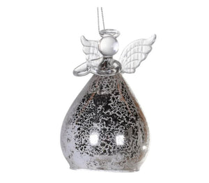 Silver Glass Hanging Angel