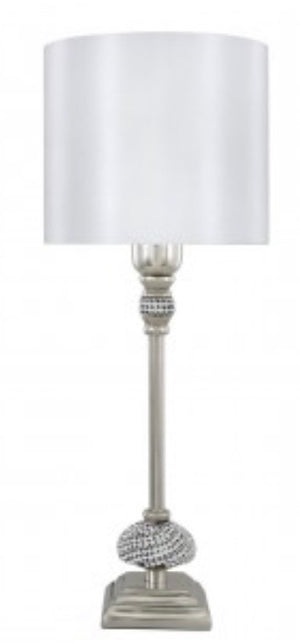 Diamanté Lamp with White Shade