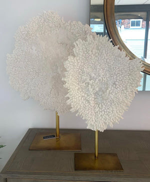 White Faux Coral on Gold Stand in 2 Sizes