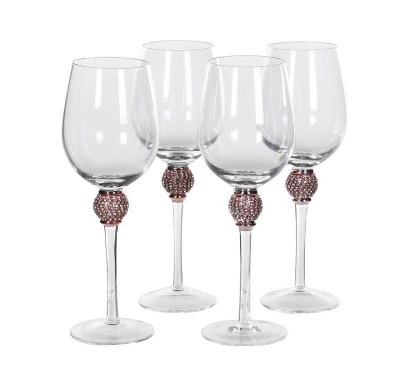 Rose Gold Diamanté Red Wine Glasses