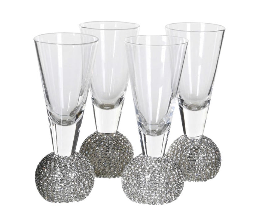 Silver Diamanté Shot Glasses