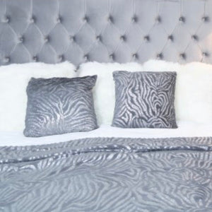 Faux Fur Grey Zebra Cushion