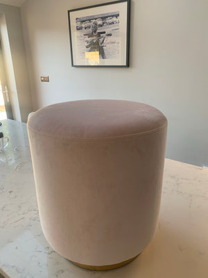 Powder Pink Stool with Gold Base