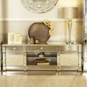 Champagne Mirrored TV Unit