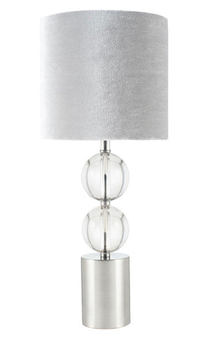 Glass Table Lamp with Brushed Silver Shade