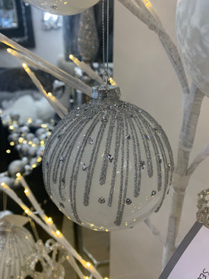 Silver & White Diamanté Glitter Bauble
