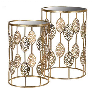 Set of 2 Leaf Detail Nest of Tables