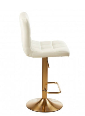 White & Gold Quilted Bar Stool
