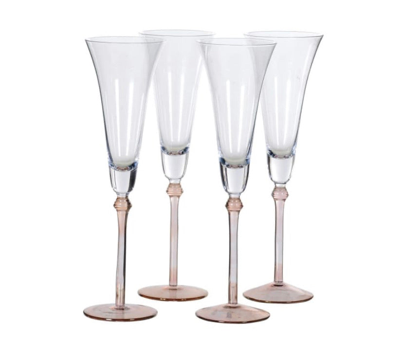 Set of 4 Rose Tint Base Champagne Flutes