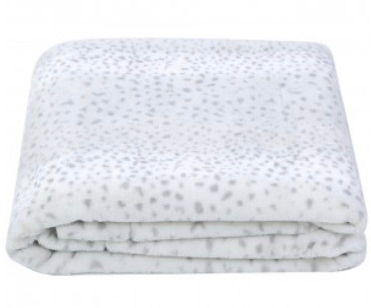 Grey Leopard Print Throw
