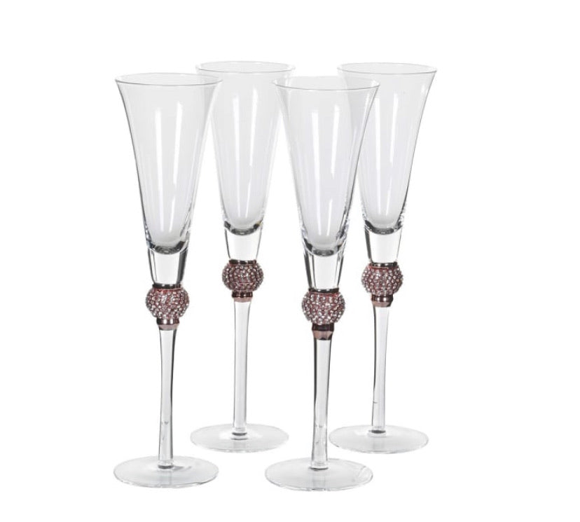 Rose Gold Diamanté Champagne Glasses