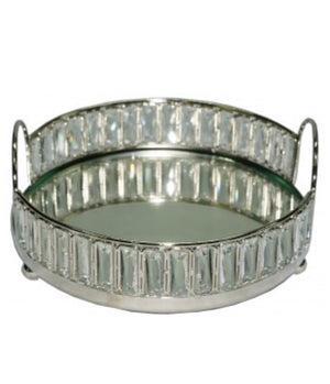 Round Nickel and Mirror Tray with Crystals