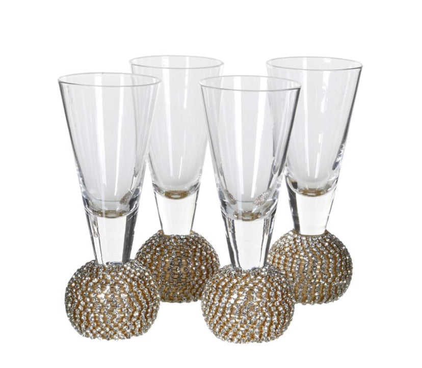 Gold Diamanté Shot Glasses