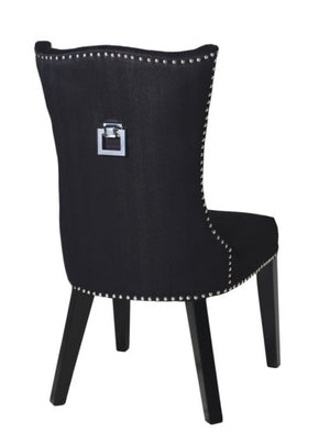 Black Studded Dining Chair with Square Knocker