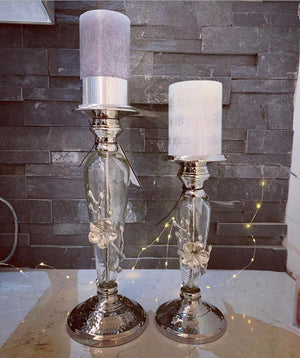 Nickel Metal & Glass Flower Candlestick