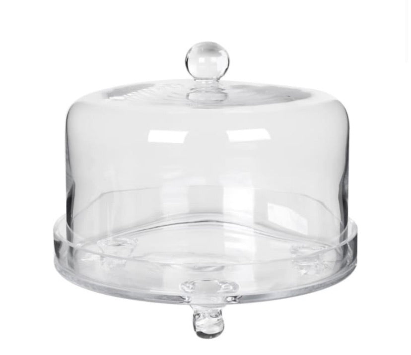 Glass Cake Dome on Plate