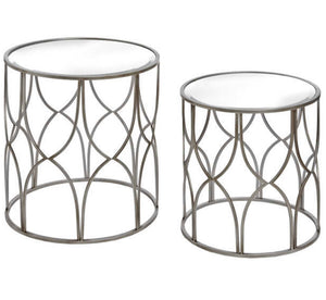 Set Of Two Detailed Silver Side Tables