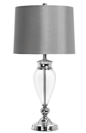 Glass Table Lamp with Grey Shade